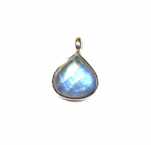 Teardrop Rainbow Moonstone Pendant Silver colourfull blue 'One-Off'